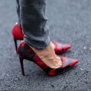 Valentino Rockstud Red Camo Heels sz 36.5